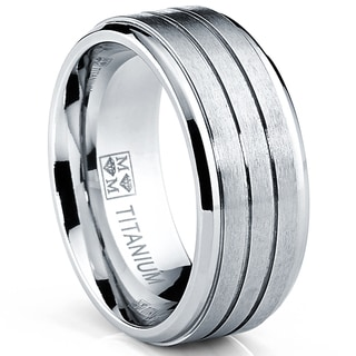 Oliveti Men's Comfort Fit Brushed Grooved Band Titanium Ring