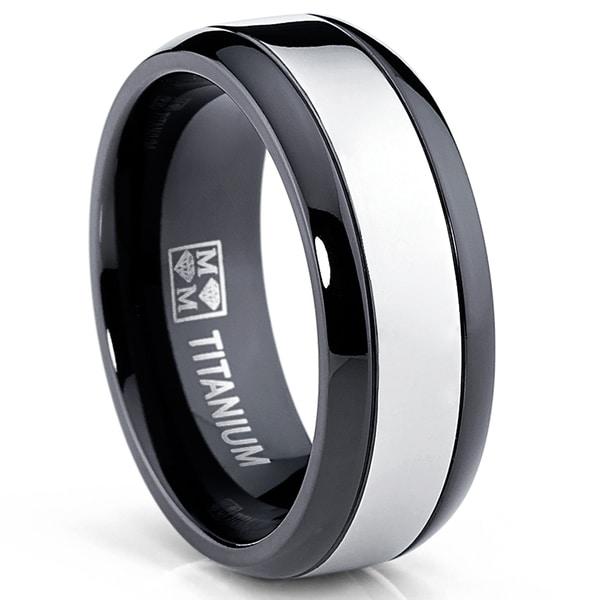 Oliveti Men's Black and White Plated Titanium Comfort Fit Band
