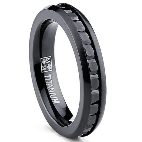Oliveti Women's Black Plated Titanium Princess-cut Cubic Zirconia Comfort Fit Eternity Ring