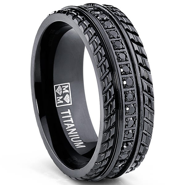 Tire Wedding Rings >> Shop Oliveti Men's Black Plated Titanium Black Cubic Zirconia Comfort-fit Ring - Free Shipping ...