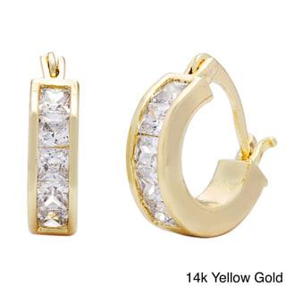 Link to Princess-cut Channel-set CZ Hoop Earrings by Simon Frank Designs Similar Items in Earrings