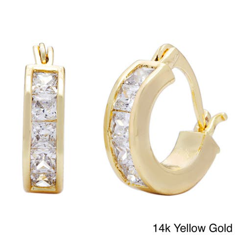 Princess-cut Channel-set CZ Hoop Earrings by Simon Frank Designs