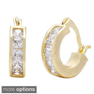 Simon Frank Princess-cut Channel-set CZ Hoop Earrings