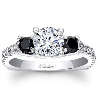 Barkev's Designer 14k White Gold 1 4/5ct TDW Black and White Diamond Engagement Ring