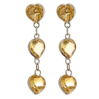 14k White Gold Heart Citrine Dangle Earrings