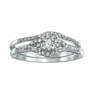 Beverly Hills Charm 14k White Gold 1/3ct TDW Bridal Halo Engagement Ring Set