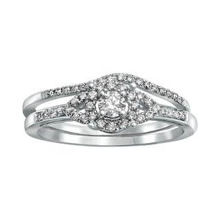 Beverly Hills Charm 14k White Gold 1/3ct TDW Bridal Halo Engagement Ring Set (H-I, SI2-I1)