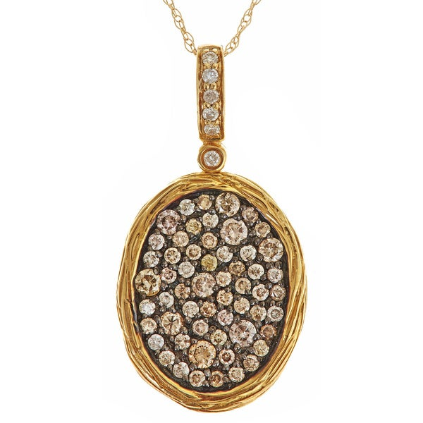 14k Yellow Gold 5/8ct TDW Brown and white Diamond Pave Oval Necklace