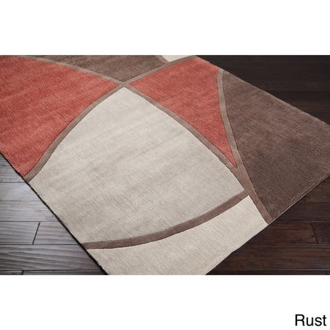 Porch & Den Gervais Hand-tufted Brown and Red Abstract Area Rug - 5' x 8'