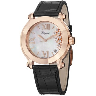 Chopard Women's 277471-5002 'HappySportRound' Mother of Pearl Diamond Dial Black Leather Strap Watch