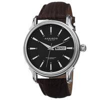 Akribos XXIV Men's Quartz Coin-Edge Bezel Leather Brown Strap Watch