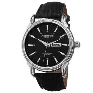 Akribos XXIV Men's Quartz Coin-Edge Bezel Leather Silver-Tone Strap Watch