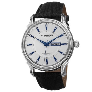 Akribos XXIV Men's Quartz Coin-Edge Bezel Leather White Strap Watch