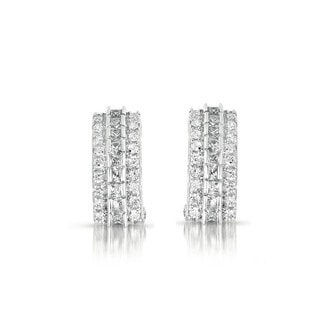 Collette Z Sterling Silver Three-row Cubic Zirconia Earrings