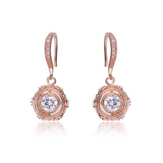 Collette Z Rose-plated Sterling Silver Cubic Zirconia Filigree Drop Earrings