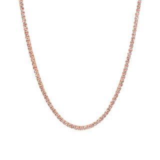 Collette Z Rose-plated Sterling Silver White Cubic Zirconia Tennis Necklace