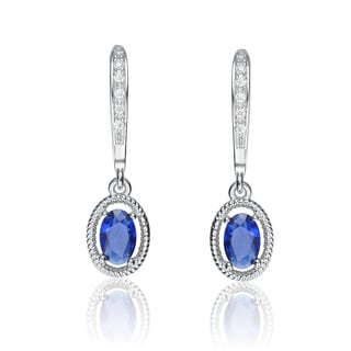 Collette Z Sterling Silver Blue Cubic Zirconia Oval Dangling Earrings