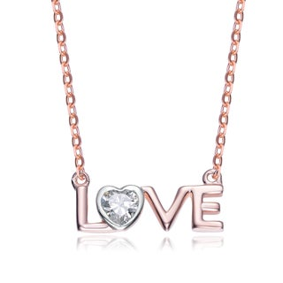 Collette Z Rose-plated Sterling Silver Cubic Zirconia 'LOVE' Necklace