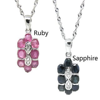 De Buman Sterling Silver Natural Ruby or Sapphire with Cubic Zirconia Necklace