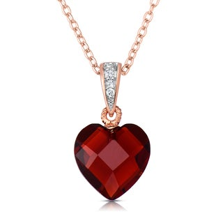 Collette Z Rose-plated Sterling Silver Red Cubic Zirconia Heart-shape Necklace