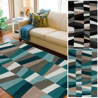 Hand-Tufted Geometric Contemporary Area Rug - 8' x 11'