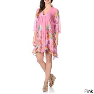 La Cera Women's Embellished Neckline Tunic Swim Cover-up (4 options available)