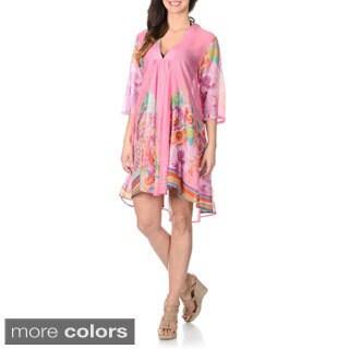 La Cera Women's Embellished Neckline Tunic Swim Cover-up