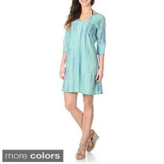 La Cera Women's Tie-Dye Tunic Swim Cover-up|https://ak1.ostkcdn.com/images/products/8935173/La-Cera-Womens-Tie-Dye-Tunic-Swim-Cover-up-P16149449.jpg?impolicy=medium