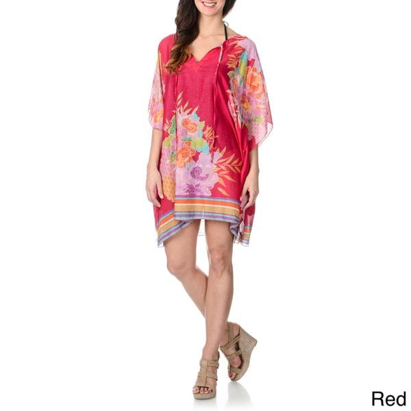La Cera Women's Floral Print Kimono Tunic Swim Cover-up