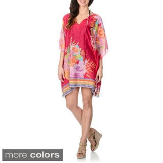 La Cera Women's Floral Print Kimono Tunic Swim Cover-up