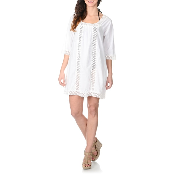81499f66eef25 Shop La Cera Women s Crochet Tunic Swim Cover Up - Free Shipping ...