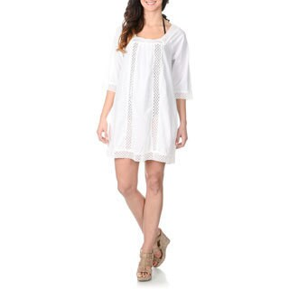 La Cera Women's Crochet Tunic Swim Cover Up