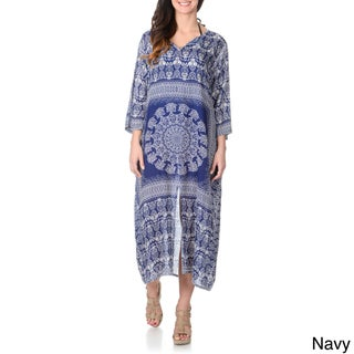 La Cera Women's Ethnic Print Embellished Maxi Swim Cover Up (More options available)