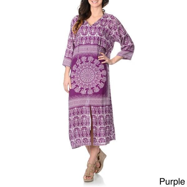 La Cera Women's Ethnic Print Embellished Maxi Swim Cover Up