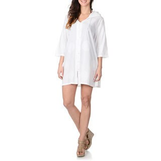 La Cera Women's Embroidered Tunic Swim Cover Up