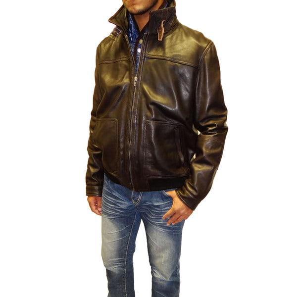 f688cc01f8b Shop Tibor Design Men s Leather Bomber Jacket - Free Shipping Today ...