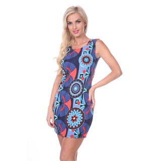 White Mark Women's Abstract Printed Sheath Dress