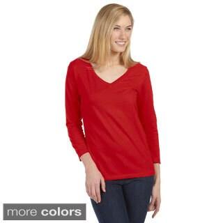 Bella Women's Missy 3/4-sleeve V-neck Jersey T-shirt