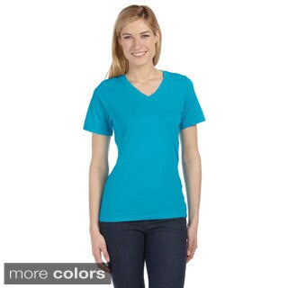 Bella Women's Missy Short Sleeve V-neck Jersey T-shirt (More options available)