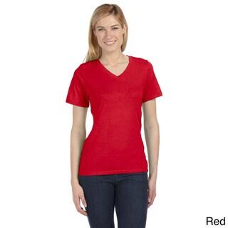 Bella Women's Missy Short Sleeve V-neck Jersey T-shirt