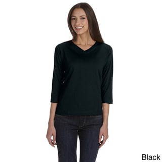 LAT Women's Combed Ringspun V-neck Quarter Sleeve T-shirt