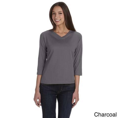 LAT Women's Combed Ringspun V-neck Quarter Sleeve T-shirt