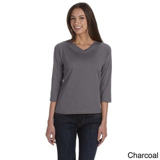 Link to LAT Women's Combed Ringspun V-neck Quarter Sleeve T-shirt Similar Items in Women's Plus-Size Clothing