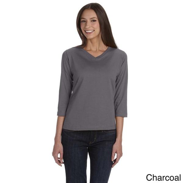 LAT Women's Combed Ringspun V-neck Quarter Sleeve T-shirt. Opens flyout.