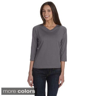 LAT Women's Combed Ringspun Cotton V-neck Quarter Sleeve T-shirt