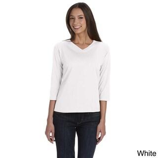 LAT Women's Combed Ringspun V-neck Quarter Sleeve T-shirt (More options available)