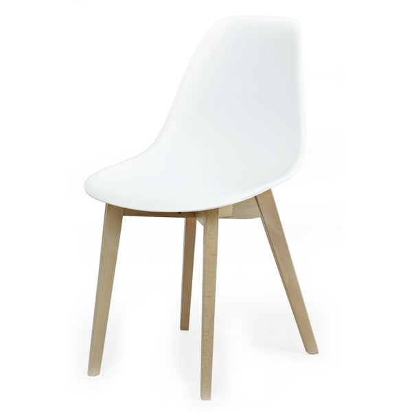 American Atelier Living White Seat with Brown Wood Legs Patt Chair