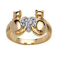 Round Crystal 14k Yellow Gold-Plated Cats and Heart Ring Bold Fashion