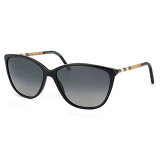 black sunglasses for women  Burberry Women\u0027s BE 4117 3001T3 Black Cateye Polarized Sunglasses ...