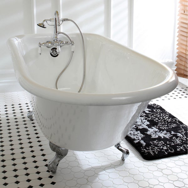 Shop Classic Roll Top 60 Inch Cast Iron Clawfoot Tub With Tub Wall